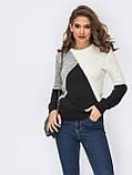 Стильный базовый свитер прямого кроя  трехцветный, фото 3