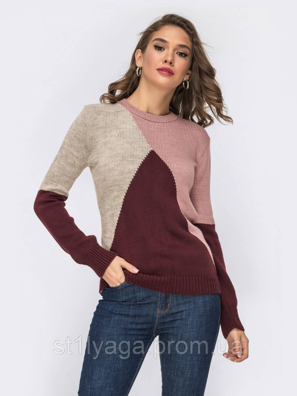 Стильный базовый свитер прямого кроя  трехцветный