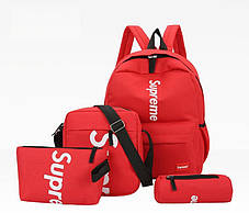Стильний тканинний набір 4в1 Supreme Рюкзак, барсетка, косметичка, пенал, фото 2