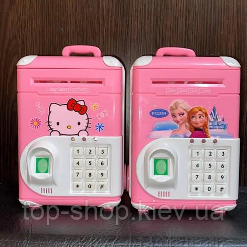 Электронная копилка-сейф банкомат с кодовым замком с отпечатком пальца