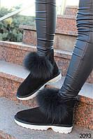 Женские ботинки в стиле UGG из натуральной замши черного цвета, мех натуральный Писец