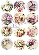 Вафельная картинка для Cupcake Коллаж Цветы 2