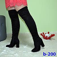 Женские сапоги ботфорты черные с двойным чулком, эко-замша, на каблуке 9 см