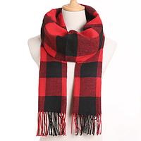 Зимний шарф кашемировый мягкий в клетку: Чёрно-красный, мужской/женский