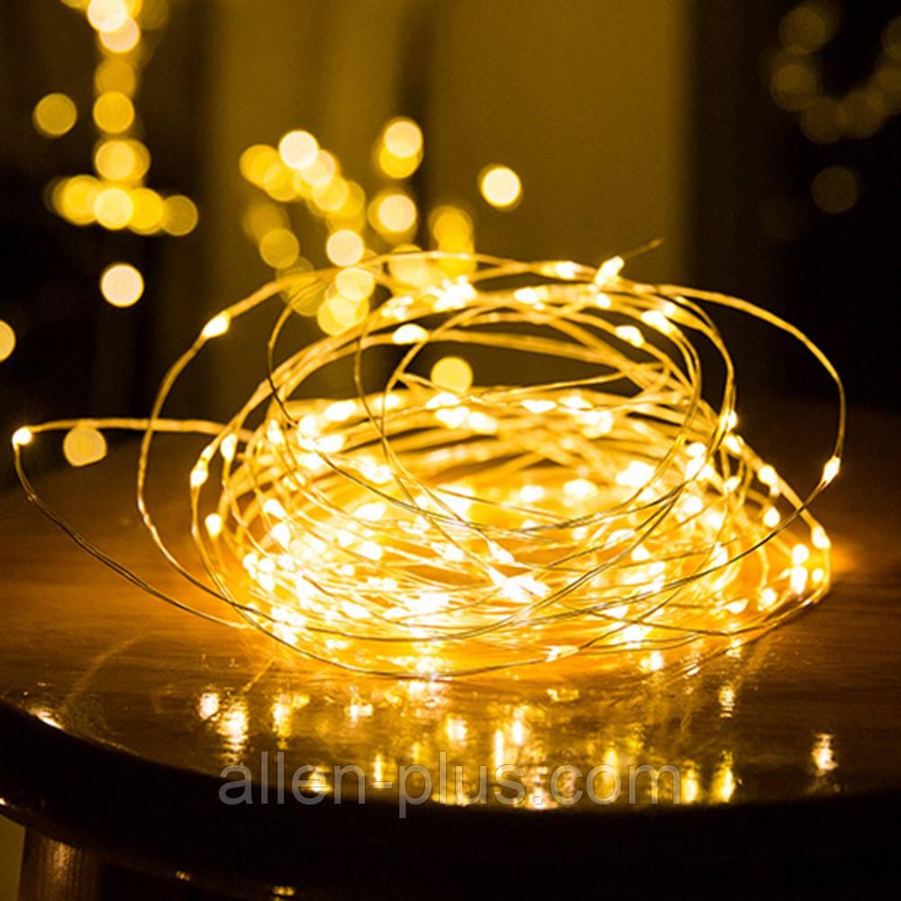 Гирлянда светодиодная желтая (LED), 10 м, с батарейками ААх3 (Гирлянда Нить на батарейках, микронить)