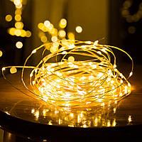 Гирлянда светодиодная желтая (LED), 10 м, с батарейками ААх3 (Гирлянда Нить на батарейках, микронить), фото 1