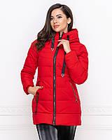 Удлиненная теплая стильная зимняя женская куртка пуховик на молнии,с капюшоном.
