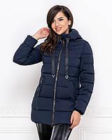 Удлиненная теплая стильная зимняя женская куртка на молнии,с капюшоном.