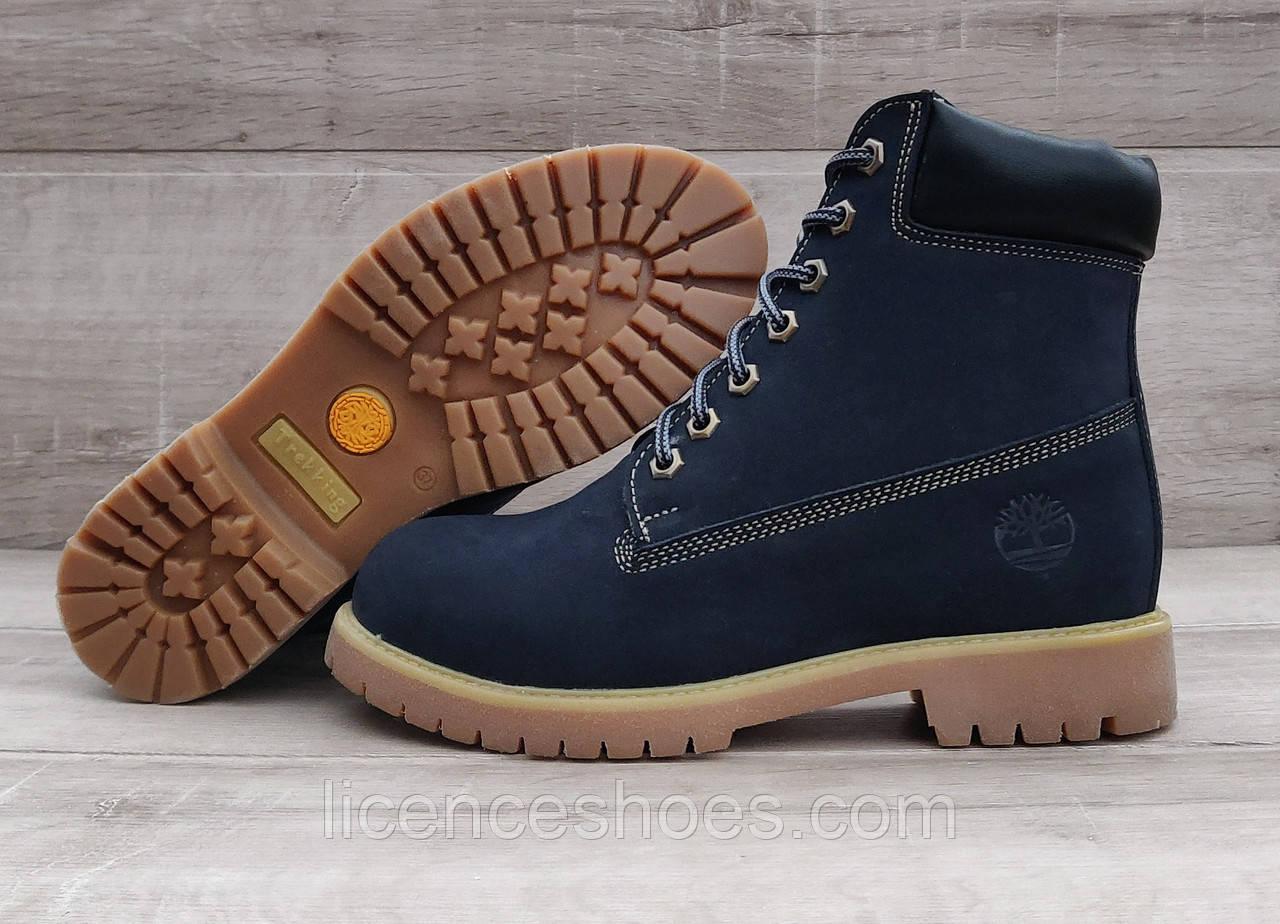 Жіночі зимові черевики в стилі Timberland Blue Натуральна шкіра та хутро (Репліка ААА)
