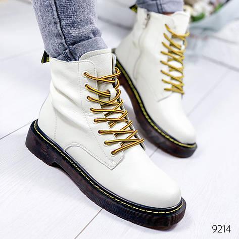 """Ботинки женские демисезонные, белого цвета из натуральной кожи """"9214"""". Черевики жіночі. Ботинки теплые, фото 2"""