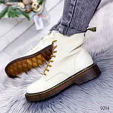"""Ботинки женские демисезонные, белого цвета из натуральной кожи """"9214"""". Черевики жіночі. Ботинки теплые, фото 3"""