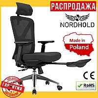 Офисное Компьютерное Кресло с подножкой NORDHOLD SKADI PLUS Черное (Польша)