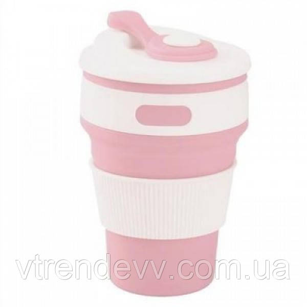 Складная силиконовая чашка Collapsible Coffe Cup 350 ml Розовая