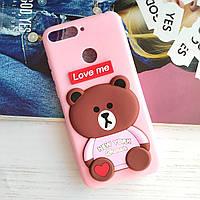 3D Чехол для Huawei Y6 Prime 2018 Мишка Love Me Розовый