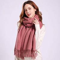 Женский теплый шарф с бахромой  190х70 см цвет фрезия