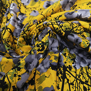 Ткань штапель принт сакура на желтом