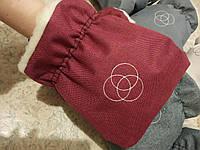 Муфта варежки теплые рукавицы для коляски  бордо, бордовый меланж, бордо лен, фото 1