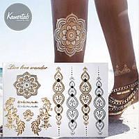 Временная татуировка FLOWERS 3, Flash glitter tattoo