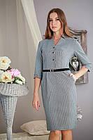 Стильное офисное платье, большие размеры, с узором «гусинная лапка».