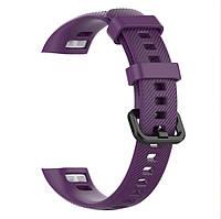 Силиконовый цветной ремешок на фитнес трекер Honor band 4 и Band 5. Фиолетовый
