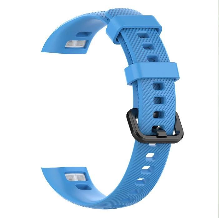 Силиконовый цветной ремешок на фитнес трекер Honor band 4 и Band 5. Голубой