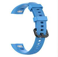 Силиконовый цветной ремешок на фитнес трекер Honor band 4 и Band 5. Голубой, фото 1