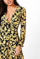 Платье женское милое нарядное черное с запахом Boohoo (Размер 42-46 (S, UK10, EU38))