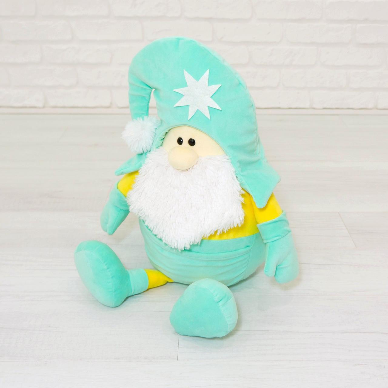 Мягкая игрушка Kidsqo гномик Санта 53 см мятно-жёлтый (1772)