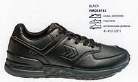 АКЦИЯ! Кроссовки из натуральной кожи, черные. Размеры 42, 43, 44, 45. Restime PMO18783.