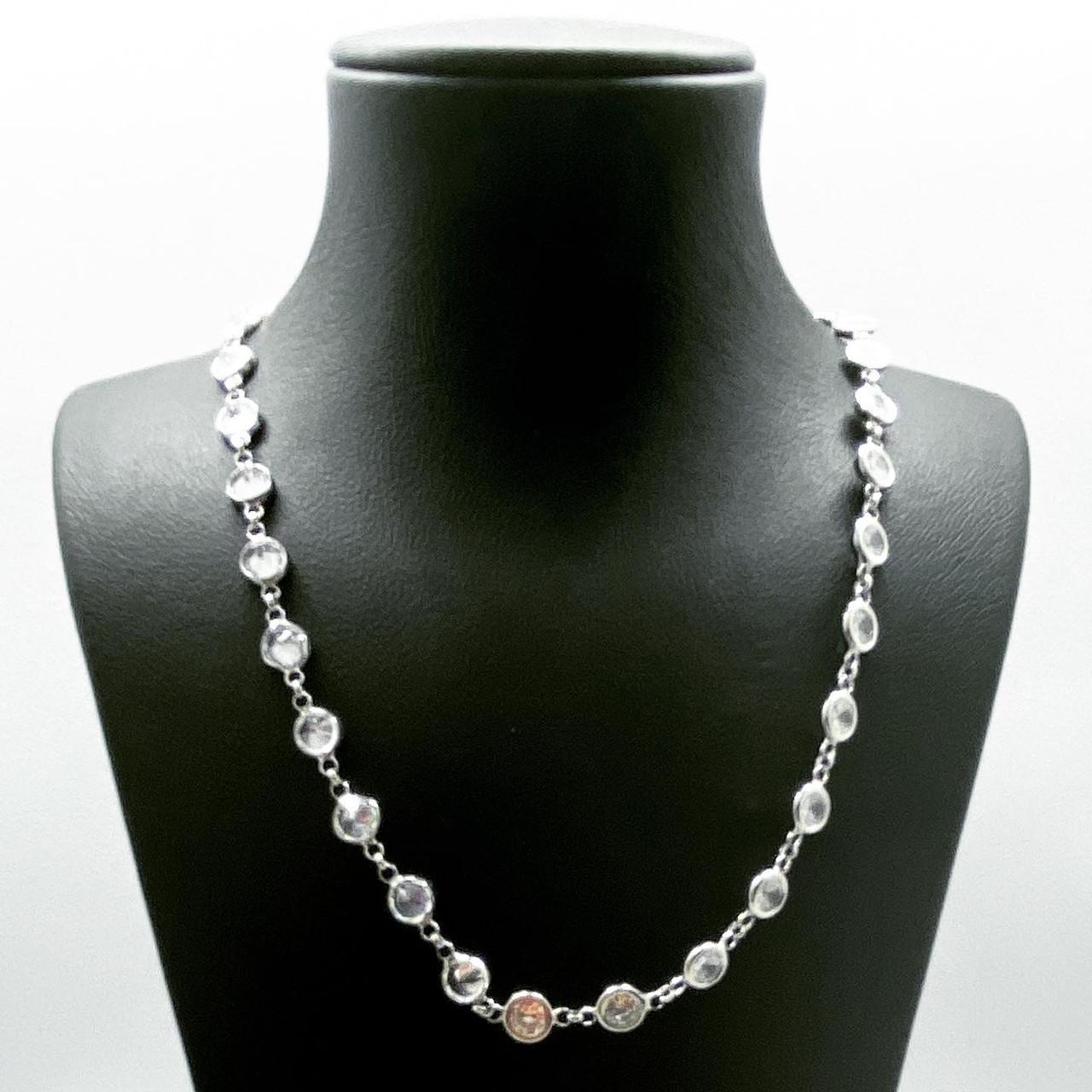 Ланцюжок кольє з срібла 925 Beauty Bar білі циркони