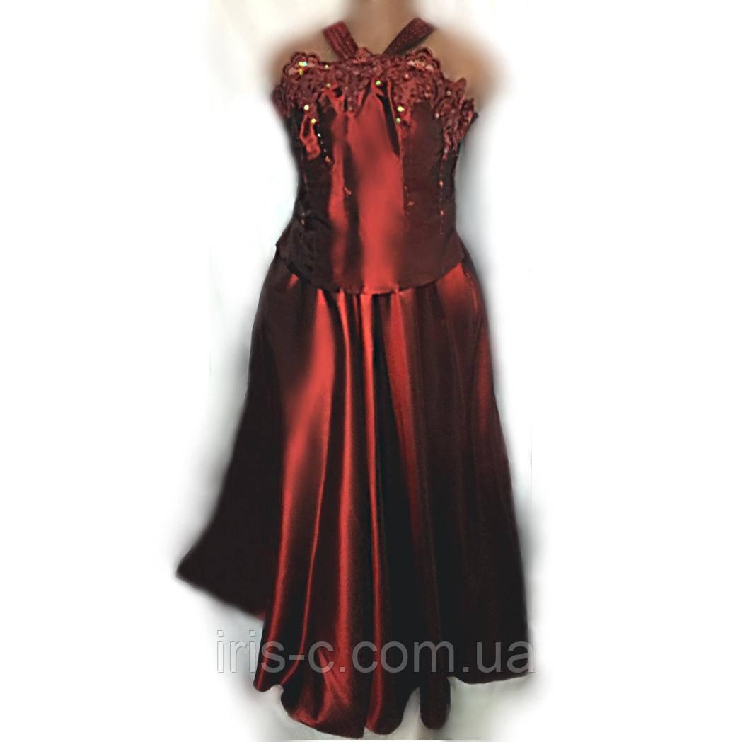 Платье вечернее Cherlone (Италия) из тафты винно красного цвета, большой размер 54/56