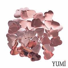 Конфетти сердечки розовое золото, 23 мм