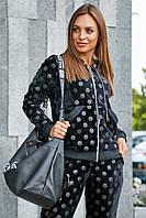 Женский велюровый спортивный костюм в горошек. На молнии. Черный