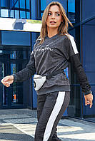 Женский трикотажный спортивный костюм с надписью. Черный меланж. (графитовый, темно-серый)