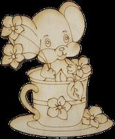 """Заготовка для декорирования """"Мышка в чашке"""" из фанеры В0407"""