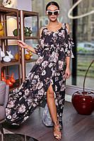Летнее платье в пол с цветочным принтом. С открытыми плечами и длинными рукавами. С разрезом.Черное