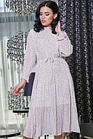 Платье-жатка летнее ниже колена с длинными рукавами в горошек. Белое, фото 1