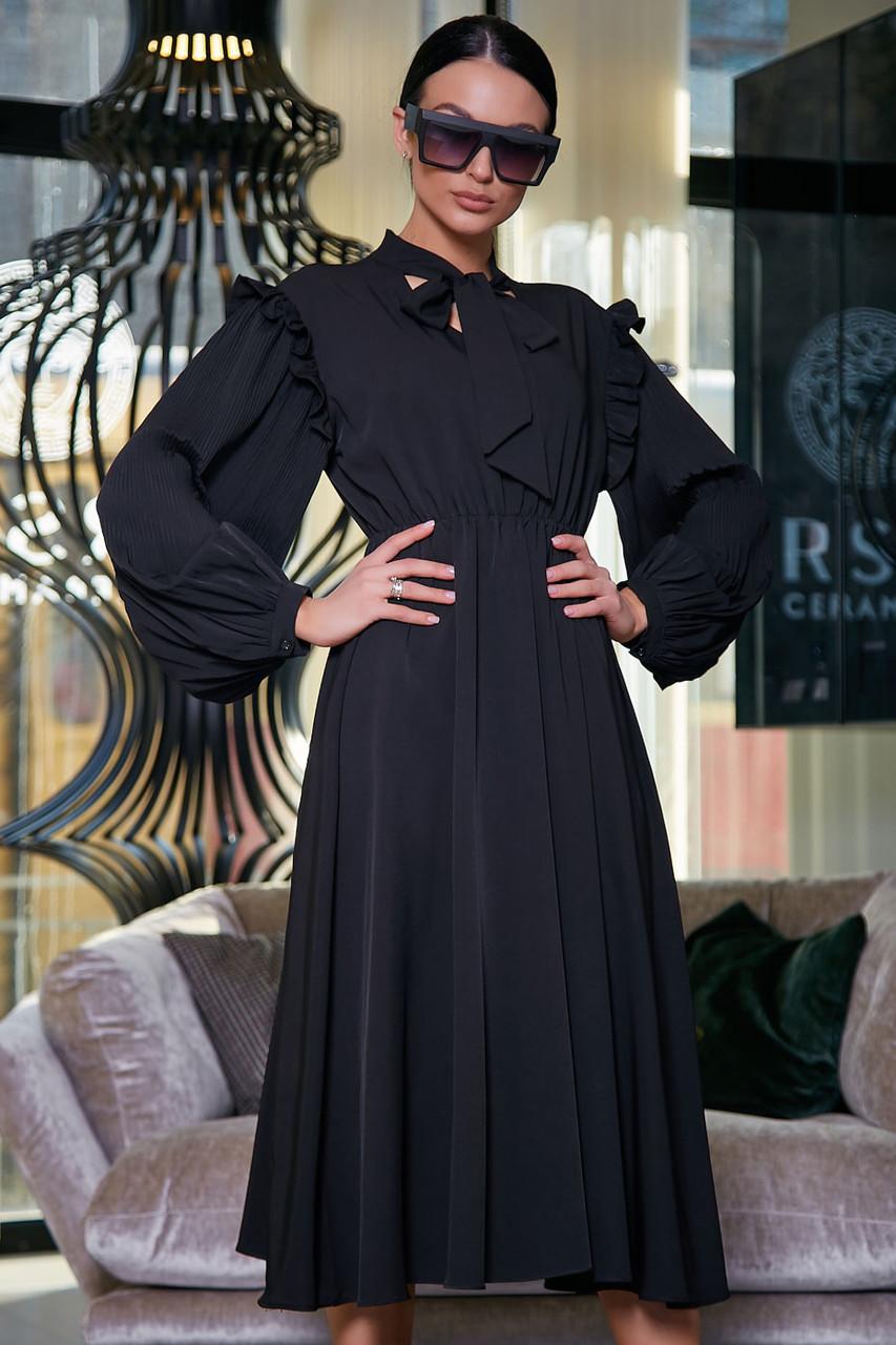 """Летнее платье """"Сексуальная монашка""""закрытое по колено с длинными рукавами, бантом и оборками. Черное"""