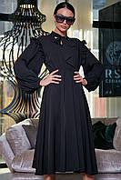 """Летнее платье """"Сексуальная монашка""""закрытое по колено с длинными рукавами, бантом и оборками. Черное, фото 1"""