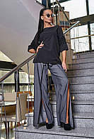 Женская блузка(блуза) прямая, с рукавами три четверти, с рюшами. Просторная. Черная