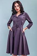 Серое платье миди по колено с расклешенной юбкой. Офисное, деловое,классическое, строгое.