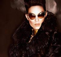 Дизайнерские солнцезащитные очки в стиле ретро, маталлическая оправа, градиентные стекла коричневого цвета