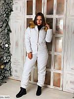 Женский зимний лыжный комбинезон, модный, белый.