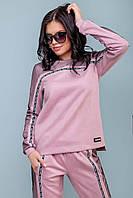 Женский трикотажный спортивный костюм из эко замши. Розовый