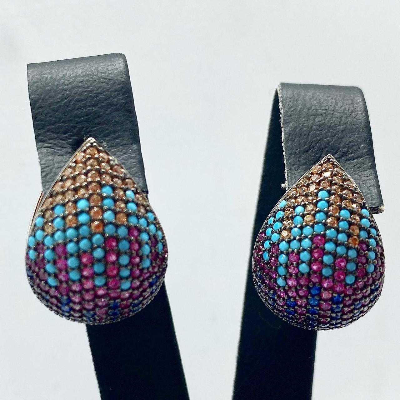 Серьги из серебра 925 Beauty Bar с камнями Swarovski  формы капля цветные
