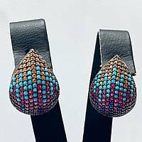 Серьги из серебра 925 Beauty Bar с камнями Swarovski  формы капля цветные, фото 1
