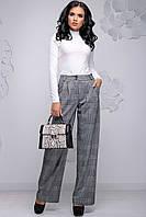 Женские широкие брюки с высокой талией, карманами и складочками. Клетчатые. Светло-серые