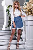 Белая женская рубашка с миней юбкой выше колена. Костюм летний
