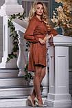 Платье мини выше колена с асимметричным подолом, замшевое. С узором. Терракотовое, рыжее, кирпичное, фото 4