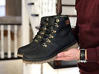 Мужские зимние ботинки на меху в стиле Timberland, натуральная кожа, прошитые, черные *** 40 (26,6 см)